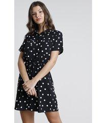 vestido chemise curto estampado de poá com amarração manga curta preto