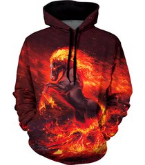 fire horse graphic front pocket casual hoodie