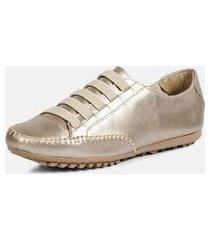 tênis sapatênis torani casual elástico dourado