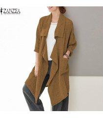 zanzea mujeres spring loose waterfall tunic coat cardigan blazer prendas de abrigo -caqui