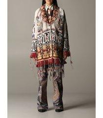etro coat euro poncho jacket in jacquard with fringes