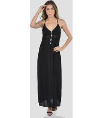vestido largo corte cami de mujer exotik ew173-1117-782 negro