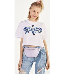 cropped t-shirt met mickey mouse