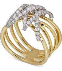 diamond wrap multi-row statement ring (3/4 ct. t.w.) in 14k gold & white gold