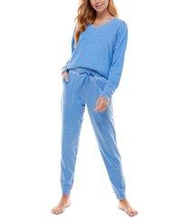 roudelain v-neck top & jogger pants loungewear set
