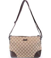 gucci brown gg canvas leather crossbody bag brown/monogram sz: s