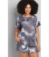 lane bryant women's livi french terry short-sleeve sweatshirt 10/12 grey