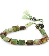 jean claude men's dell arte sterling silver & jade bead bracelet