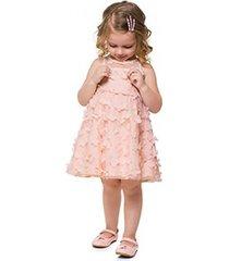 vestido infantil milon tule flores 3d