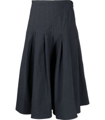 barena drop-pleat midi skirt - blue