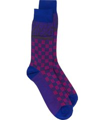 etro geometric jacquard socks - purple