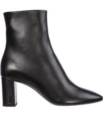 saint laurent leather heel ankle boots booties lou