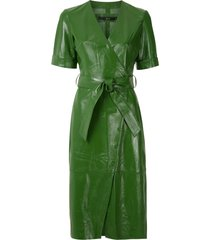 eva leather wrap dress - green