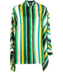 gianluca capannolo stripe batwing-sleeve shirt - green
