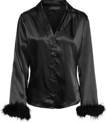 skye feather shirt top svart ow intimates