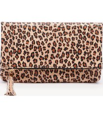 women's tasia clutch vegan foldover clutch natural leopard vegan leather from sole society