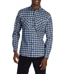 alton lane jackson everyday check flannel button-up shirt, size medium r in white and navy gingham at nordstrom