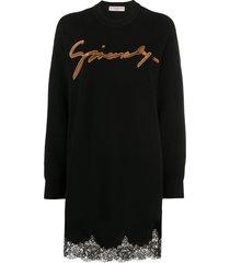 givenchy embroidered logo lace-trim jumper dress - black
