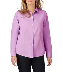 women's foxcroft dianna non-iron cotton shirt, size 8 - purple