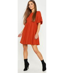 petite ribbed frill sleeve smock dress, terracotta