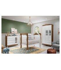 dormitório ariel guarda roupa 3 portas cômoda fraldário berço lila carolina baby branco