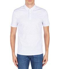 ax armani exchange men's dotted grid-print mesh polo shirt