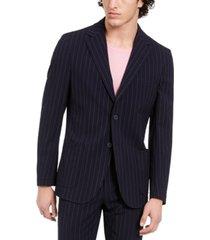 dkny men's slim-fit stretch navy blue seersucker stripe suit jacket