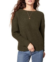 women's bb dakota knits a look crewneck sweater, size large - green