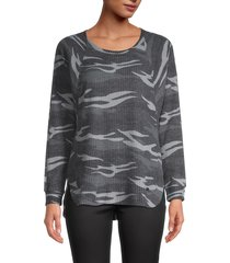 marc new york performance women's camo-print high-low tunic - charcoal combo - size s
