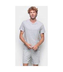pijama hering curto gola v mini print masculino