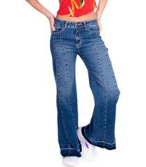 jeans palazzo cortes azul efesis
