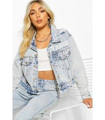 distressed boxy jean jacket, light blue