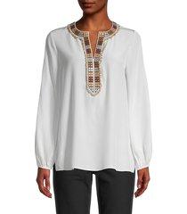 kobi halperin women's chevy embellished silk blouse - midnight blue - size xs