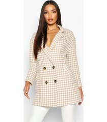 dogtooth double breasted wool look coat, stone