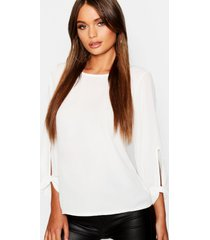 bow sleeve woven blouse, ivory