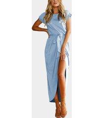 light blue lace-up design round neck short sleeves slit hem maxi dress