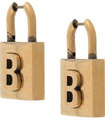 balenciaga padlock b motif earrings - 0604 antique gold