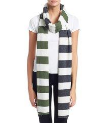 charlotte simone women's multi-max stripe cashmere scarf - cream