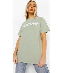 acid wash gebleekt pantone t-shirt met tekst, gewassen limoen