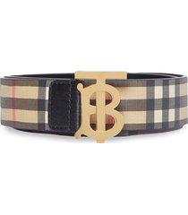 burberry monogram motif check belt - yellow