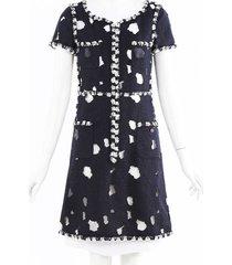 chanel distressed tweed dress black/white/geometric sz: s