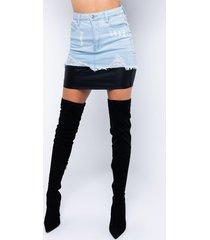 akira double of me denim mini skirt with coated denim