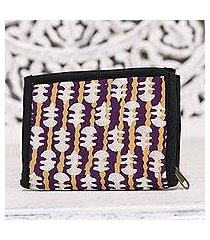 batik cotton wallet, 'lovely designs in eggplant' (india)