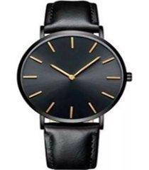 reloj ultra delgado correa negra marco negro