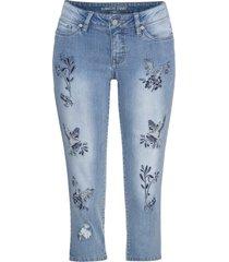 jeans capri con uccellini ricamati (blu) - rainbow