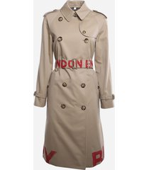 burberry cotton gabardine trench coat with logo print on the bottom