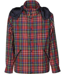 moncler checked padded buttoned shirt