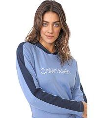 moletom fechado calvin klein underwear logo azul