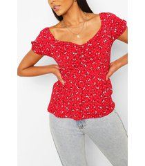 disty print puched front smock top, red