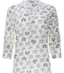 blusa estampada gatos color blanco, talla xs